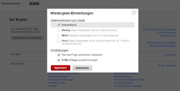 Umschalten auf HTML5 bei Netflix