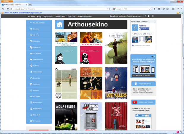 Anspruchsvolles bei Netzkino (Screenshot: Golem.de)