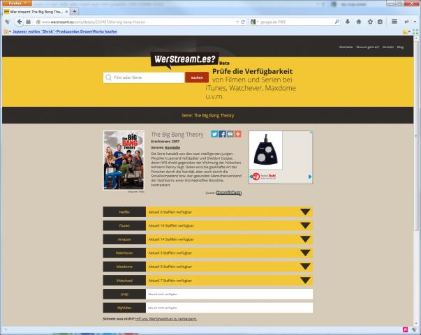 Das war klar: Die beliebteste Nerd-Serie haben fast alle Anbieter. (Screenshot: Golem.de)