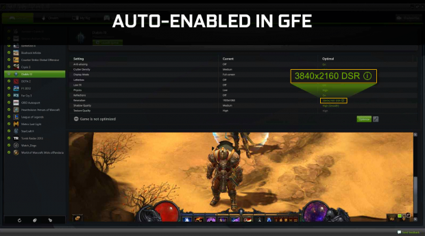 Downsampling auf Knopfdruck in Geforce Experience. (Folien: Nvidia)