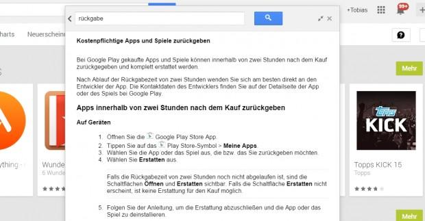 In den Hilfeseiten hat Google die Umtauschfrist für Apps offiziell von 15 Minuten auf 2 Stunden verlängert. (Screenshot: Golem.de)