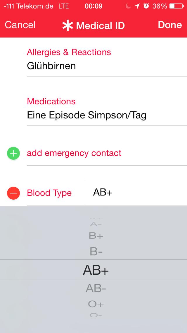 Apples iOS 8 im Test: Das mittelmäßigste Release aller Zeiten - Allergien und wichtige Medikamente lassen sich hier eintragen. (Screenshot: Golem.de)