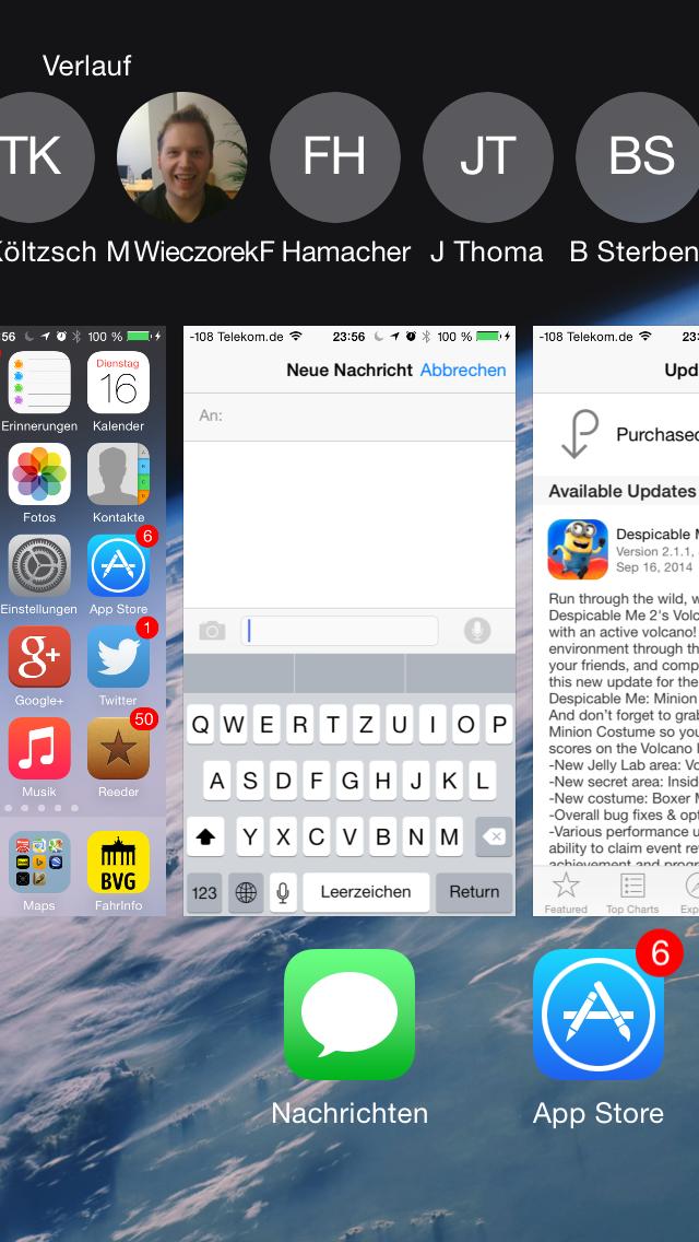 Apples iOS 8 im Test: Das mittelmäßigste Release aller Zeiten - In der Ansicht mehrerer laufender Apps gibt es neuerdings Kontakte. (Screenshot: Golem.de)