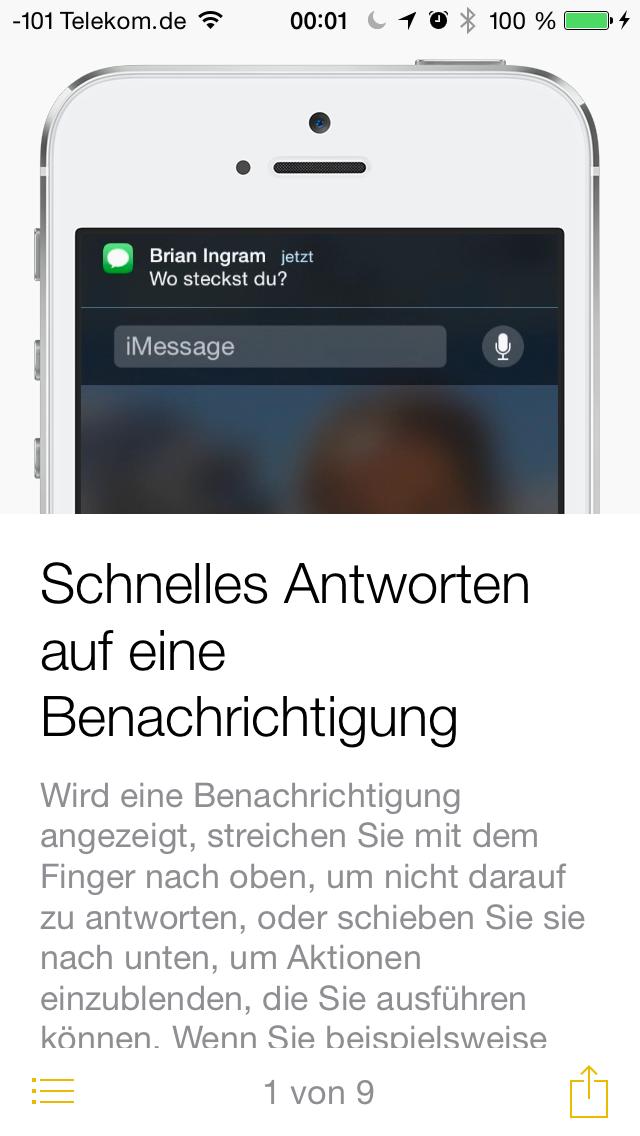 Apples iOS 8 im Test: Das mittelmäßigste Release aller Zeiten - Die Tipps-App ... (Screenshot: Golem.de)