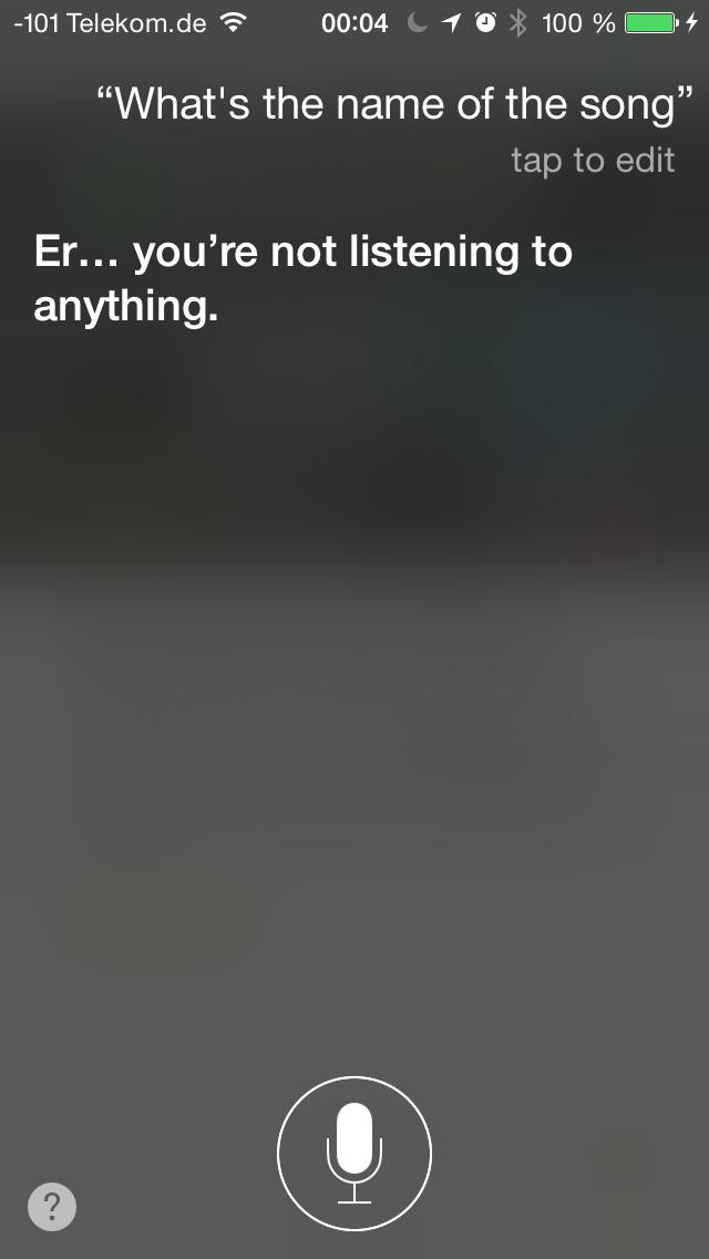 Apples iOS 8 im Test: Das mittelmäßigste Release aller Zeiten - Die Erkennung von Musik wollte jedoch nicht so recht funktionieren. (Screenshot: Golem.de)