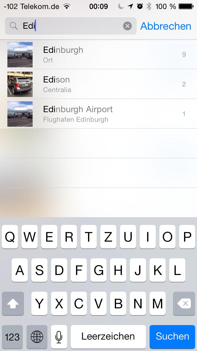 Apples iOS 8 im Test: Das mittelmäßigste Release aller Zeiten - Die Spotllightsuche findet solche Fotos nicht. (Screenshot: Golem.de)