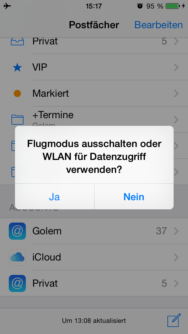 Apples iOS 8 im Test: Das mittelmäßigste Release aller Zeiten - Keine Sorge, ein Klick auf Ja bringt einen nur in die Systemeinstellungen.(Screenshot: Golem.de)