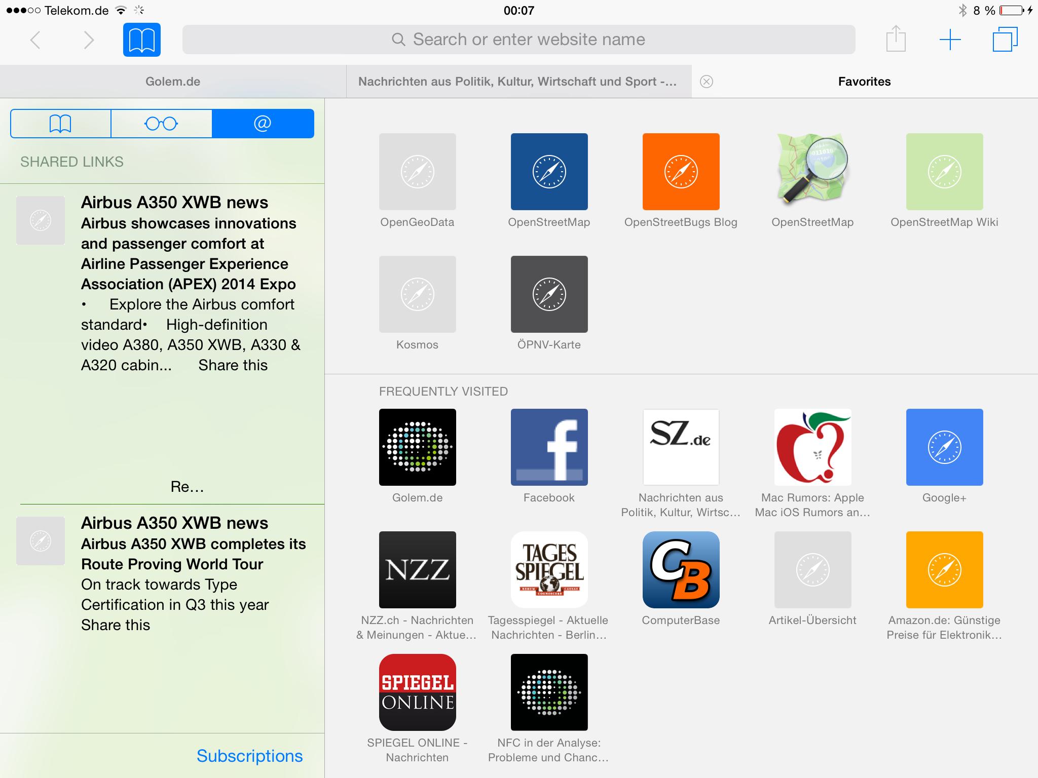 Apples iOS 8 im Test: Das mittelmäßigste Release aller Zeiten - Auf dem iPad ... (Screenshot: Golem.de)