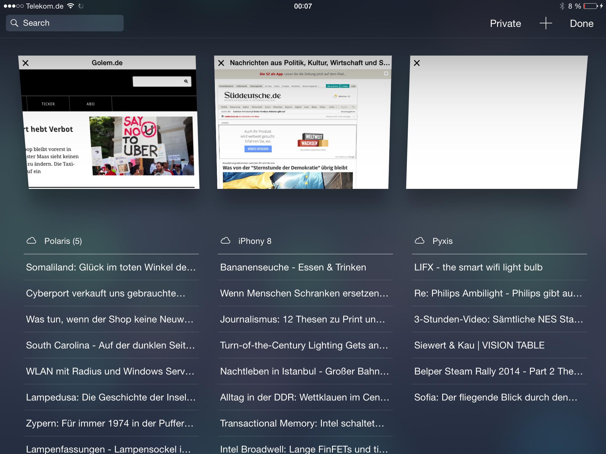 Apples iOS 8 im Test: Das mittelmäßigste Release aller Zeiten - ... nutzt der Browser nun den Platz deutlich besser aus. (Screenshot: Golem.de)