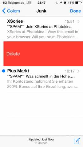 Das Löschen lästiger Spammails geht nun dank erweiterter Wischgeste schneller. (Screenshot: Golem.de)