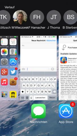 In der Ansicht mehrerer laufender Apps gibt es neuerdings Kontakte. (Screenshot: Golem.de)