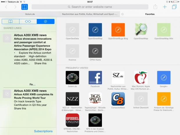 Auf dem iPad ... (Screenshot: Golem.de)