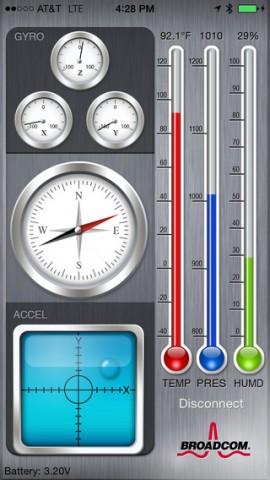 Die iOS-App sieht alle Sensoren. (Bild: Broadcom)