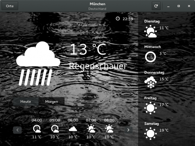 Die Wetter-Applikation wurde in Gnome 3.14 grundlegend überarbeitet. (Screenshots: Gnome-Projekt)