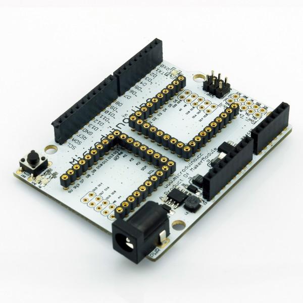 Microduino: Kleine Bastlerboards zum Stapeln - Erweiterungsplatine, um ein Core-Modul mit normalen Arduino-Shields zu nutzen. (Foto: Microduino Studio)
