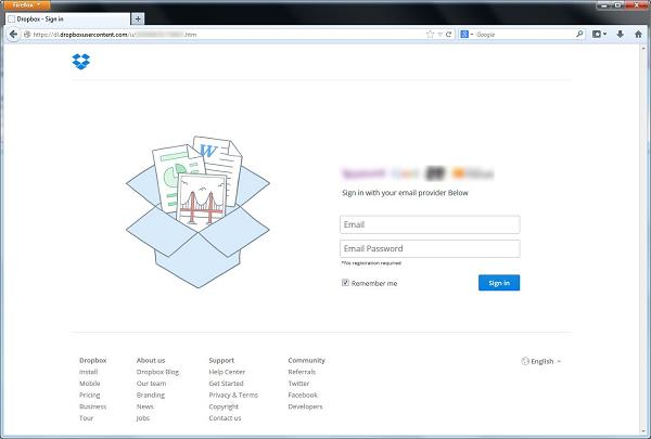Die manipulierte Webseite, die per Dropbox-Server ausgeliefert wird. (Bild: Symantec)