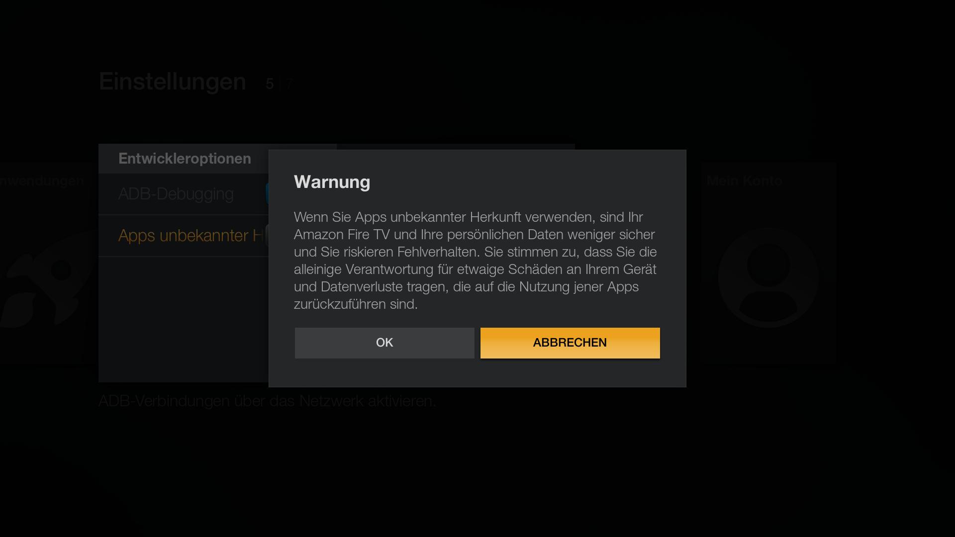Workshop: Amazons Fire TV wird zur Multimedia-Zentrale - Bei Apps aus unbekannter Herkunft gibt es diese Sicherheitsabfrage. (Screenshot: Golem.de)