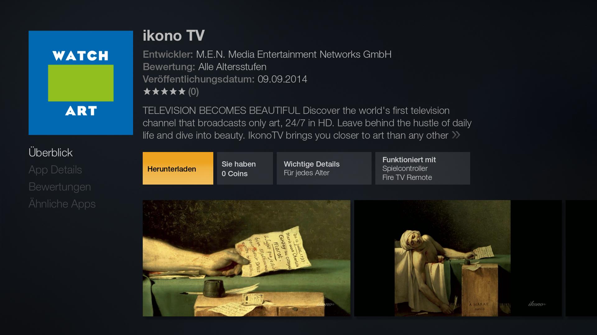 Workshop: Amazons Fire TV wird zur Multimedia-Zentrale - Detailseite von Ikono TV im Fire-TV-Store (Screenshot: Golem.de)