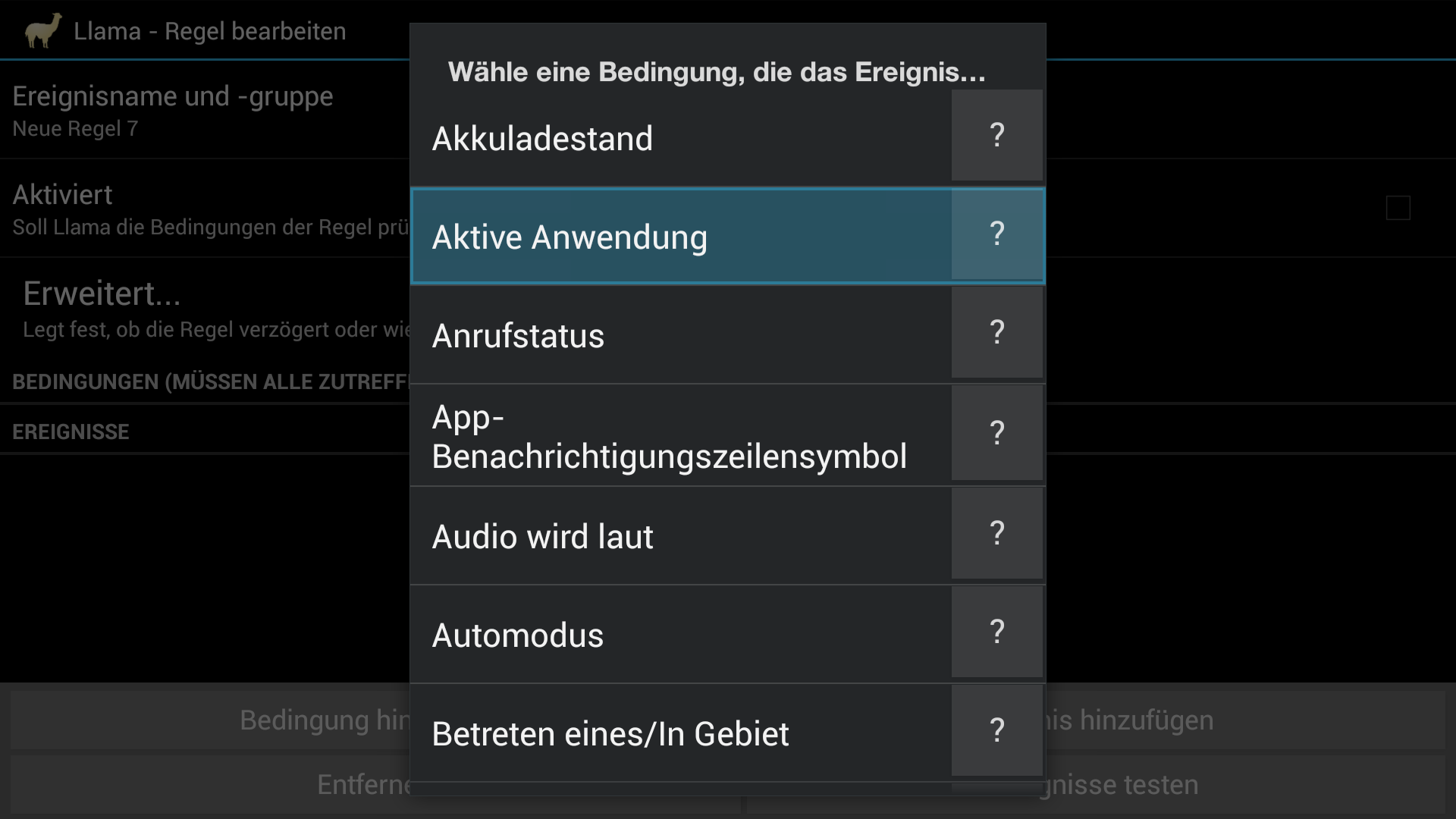 Workshop: Amazons Fire TV wird zur Multimedia-Zentrale - Neue Bedingung in Llama anlegen. (Screenshot: Golem.de)