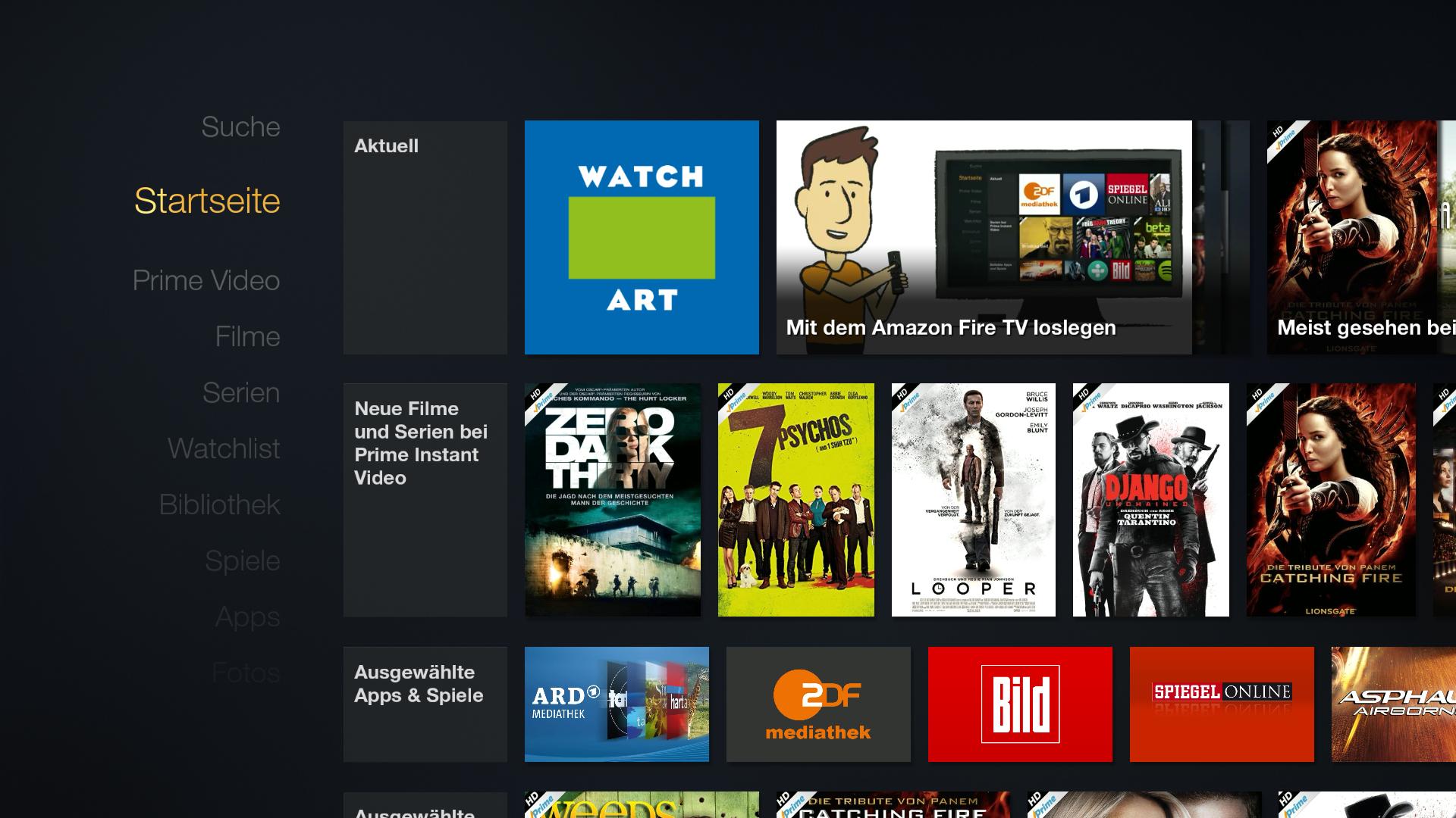 Workshop: Amazons Fire TV wird zur Multimedia-Zentrale - Startbildschirm des Fire TV mit installierter Ikono-TV-App (Screenshot: Golem.de)