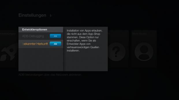 Diese beiden Optionen müssen in den Entwicklungseinstellungen des Fire TV aktiviert sein. (Screenshot: Golem.de)