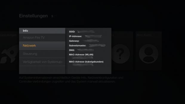 In den Geräteeinstellungen findet sich die Netzwerk-Adresse des Fire TV. (Screenshot: Golem.de)