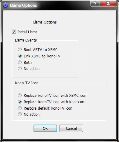 Llama-Optionen in Adbfire (Screenshot: Golem.de)
