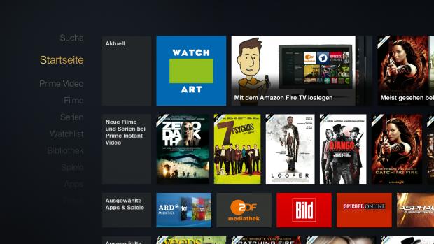 Startbildschirm des Fire TV mit installierter Ikono-TV-App (Screenshot: Golem.de)