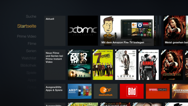Startbildschirm des Fire TV mit manipulierter Ikono-TV-App, die XBMC startet (Screenshot: Golem.de)