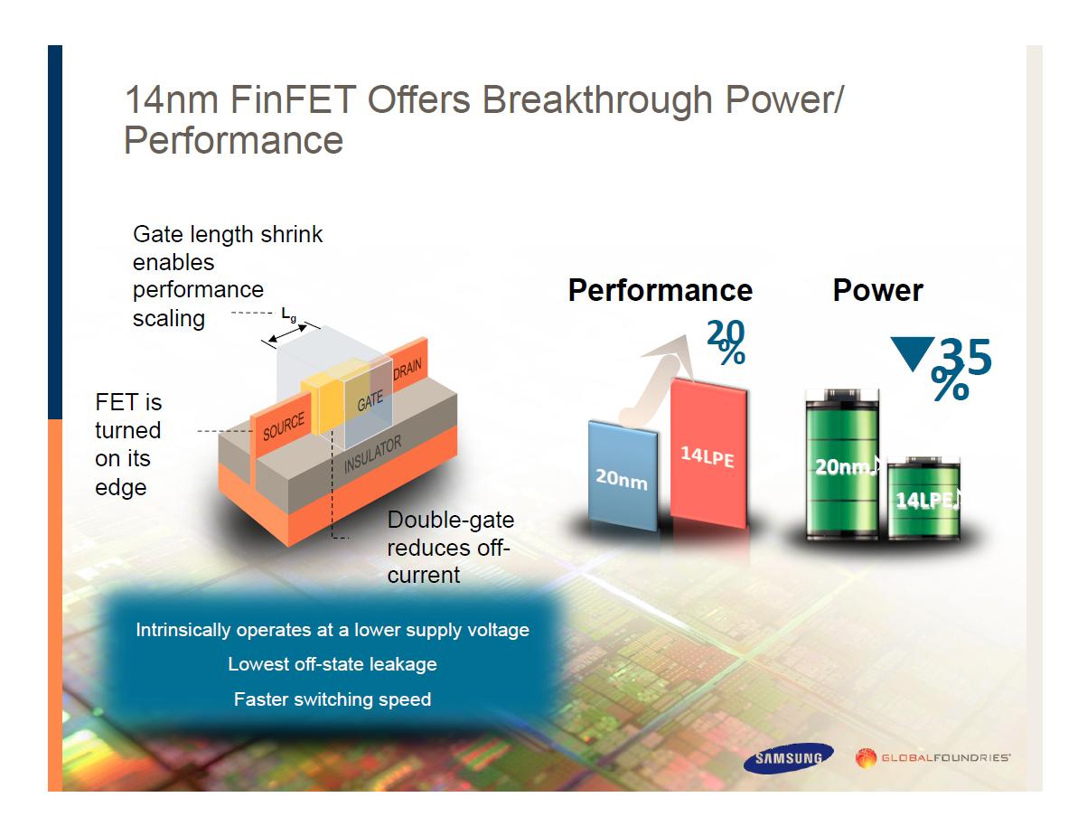 Smartphone-Prozessoren: Krieg der Kerne - Vorteile des 14nm-FinFET-Prozesses (Bild: Samsung)