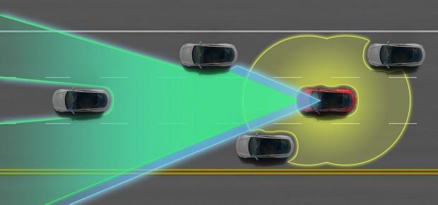 Model S mit Assistenzsystem (Bild: Tesla)
