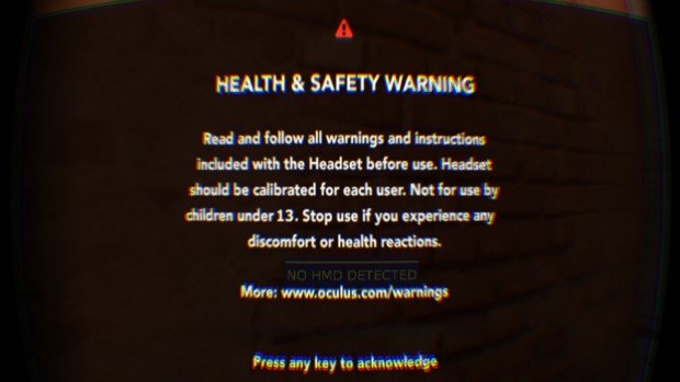 "Neuer ""Health and Safety Warning""-Bildschirm (Screenshot: Marc Sauter/Golem.de)"