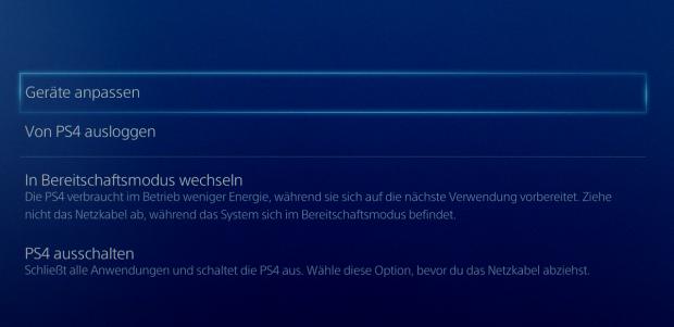 Was bei der PS4 zuerst Bereitschaftsmodus hieß, ... (Screenshot: Michael Wieczorek)
