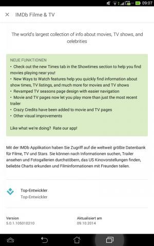 Neue Funktionen erscheinen gleich oben in der App-Beschreibung (Screenshot: Golem.de)