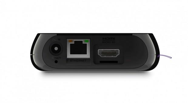 Hinten unter dem HDMI-Port ist der Micro-SD-Slot, USB befindet sich an der rechten Seite. (Bild: Roku)