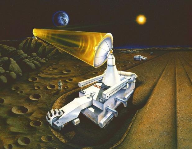 Konzept für einen Rover, der Helium-3 aus dem Mondboden fördern soll (Bild: University of Wisconsin)