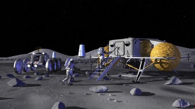 So könnte eine künftige Mondbasis aussehen. Von dort aus könnten Raumschiffe zu anderen Planeten fliegen. (Bild: Nasa)