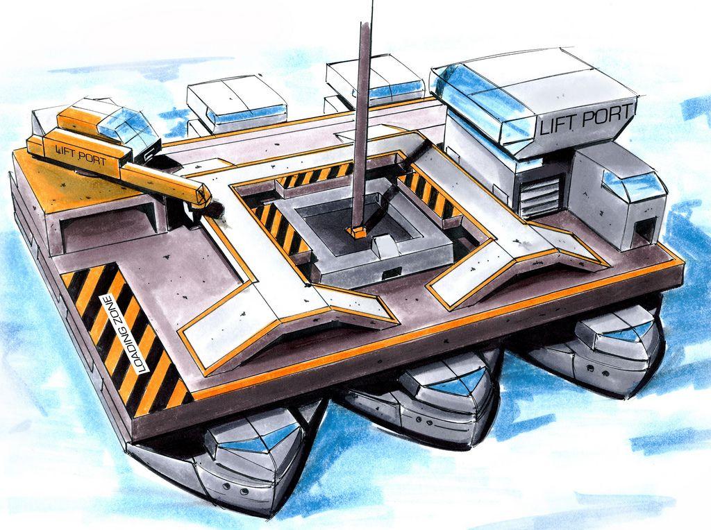 Spacelift: Der Fahrstuhl zu den Sternen - Die Bodenstation wird auf einer schwimmenden Plattform mitten im Pazifik errichtet. (Bild: Liftport Group)