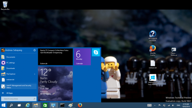 Das neue Startmenü in Windows 10 hat Live-Kacheln. (Screenshot: Golem.de)