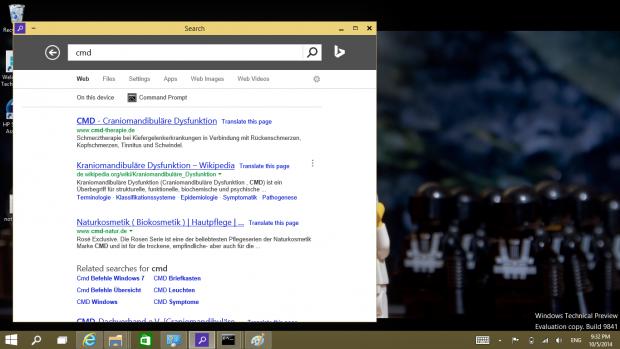 Die Suche in Windows 10 ist ein Internet Explorer im App-Modus.(Screenshot: Golem.de)