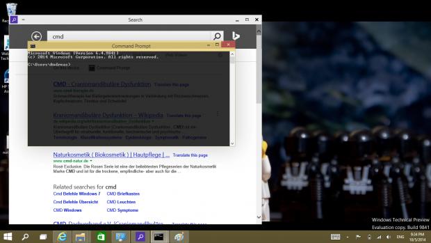 Die Kommandozeile lässt sich transparent schalten, so dass wir alternative Bedeutungen von CMD durch das Fenster hindurch lesen können. (Screenshot: Golem.de)