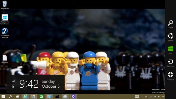 Die Charms-Leiste ist noch da. Sollte eine App im Fenstermodus aktiv sein, ist die Charms-Leiste weiterhin kontextabhängig zu einer Modern-UI-App. (Screenshot: Golem.de)
