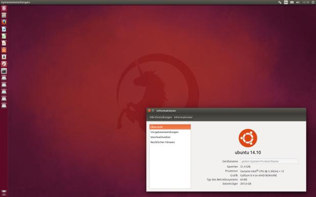 Der Desktop von Ubuntu 14.10 samt einem neuen Wallpaper aus der Community (Screenshots: Golem.de)