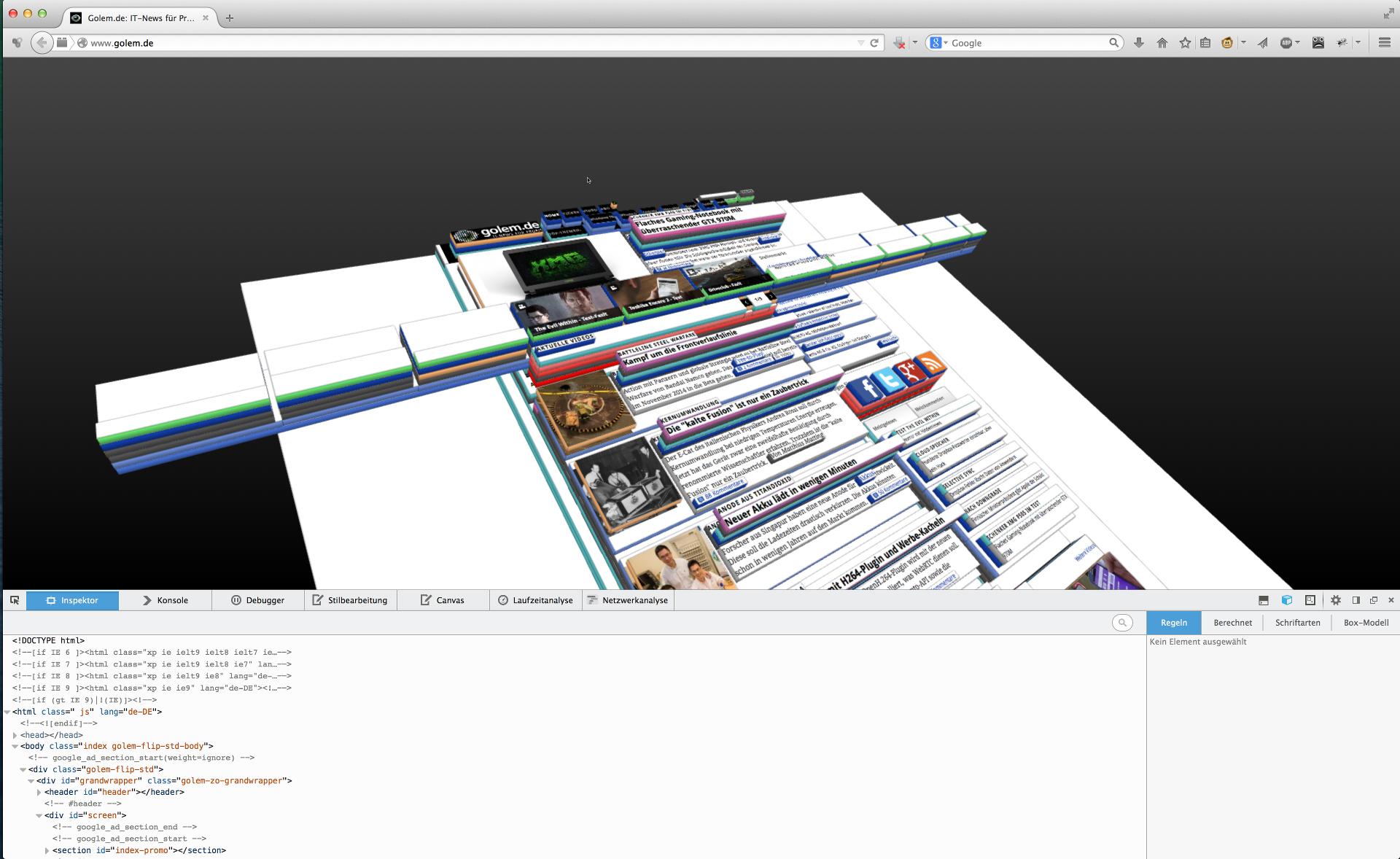 3D-Druck ausprobiert: Internetausdrucker 4.0 - ... erscheint die Webseite in 3D.(Bild: Alexander Merz/Golem.de)