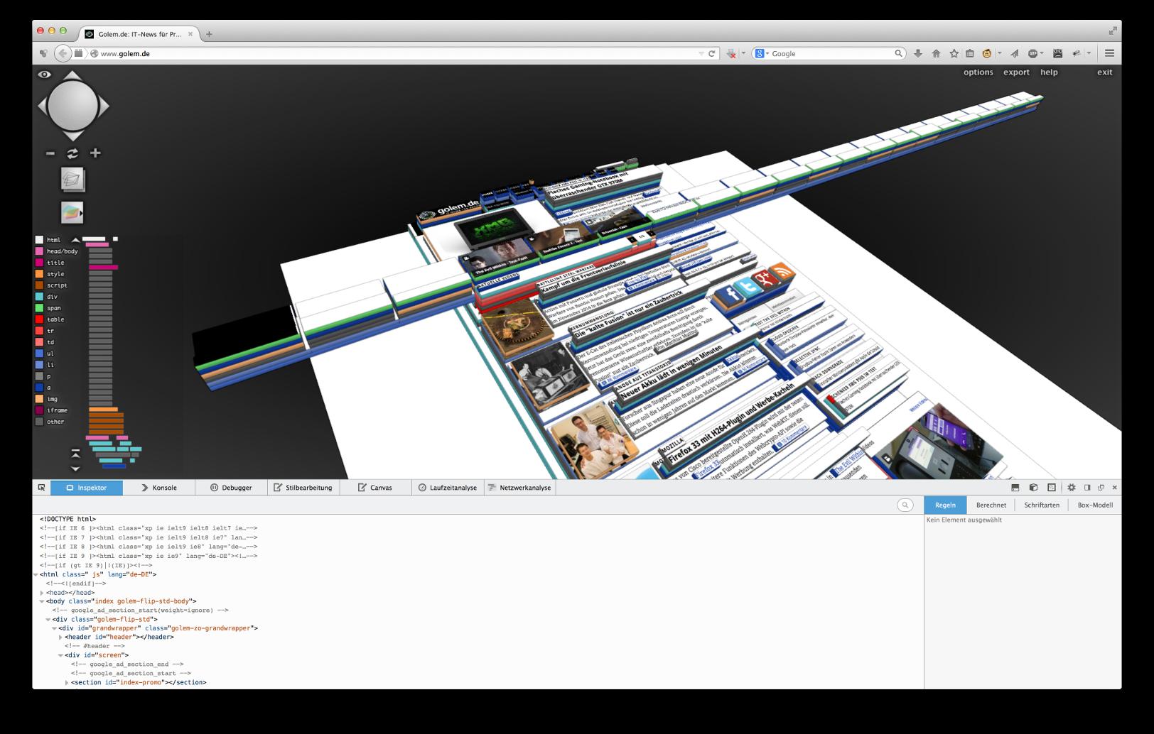 3D-Druck ausprobiert: Internetausdrucker 4.0 - Das Benutzerinterface des Tilt-3D-Addons ist deutlich umfangreicher. (Bild: Alexander Merz/Golem.de)