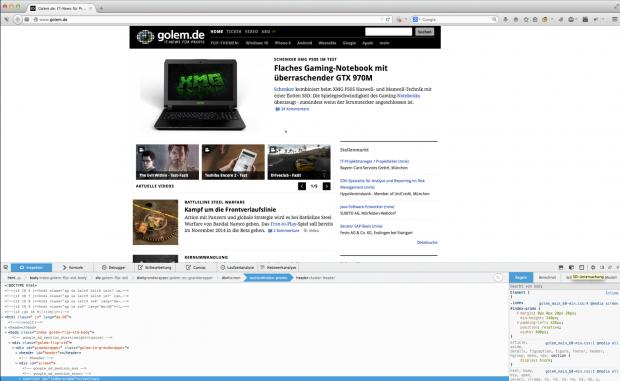 Über den Inspektor von Firefox kann die 3D-Ansicht geöffnet werden. Nach einem Klick auf den Würfel-Button rechts unten ... (Bild: Alexander Merz/Golem.de)