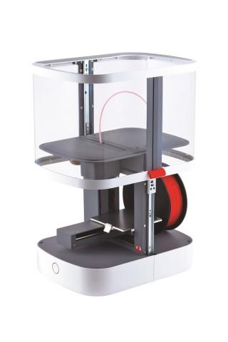 So soll der 3D-Drucker aussehen, wenn er fertig gebaut wurde. Das Gehäuse ist hier hochgezogen. (Foto: Eaglemoss)