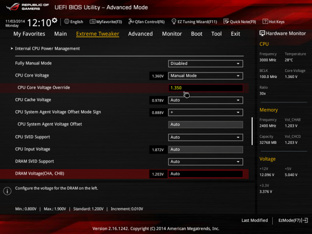 1,35 Volt reichen, zuvor waren instabile 1,36 Volt eingestellt. (Screenshot: Golem.de)