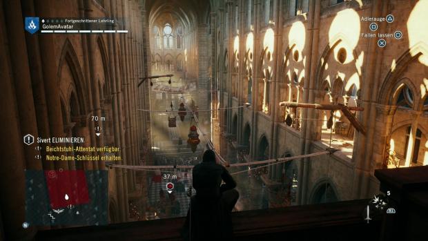 Das Innere der Kathedrale von Notre Dame. (Screenshot: Golem.de)
