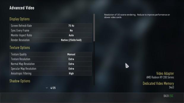 Grafikmenü von CoD Advanced Warfare (Screenshot: Marc Sauter/Golem.de)